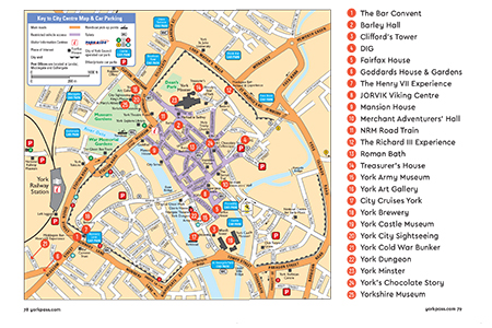 Map Of York City Centre York Guidebook | York Pass