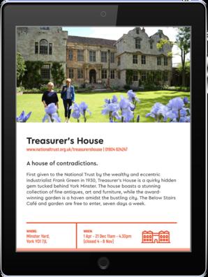 York Pass Digital Guidebook 2019 Example Tablet Treasurer's House